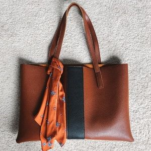 Vince Camuto Luck Brown Black Leather Vegan Tote